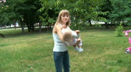 Stock Video Footage of Mother plays with a daughter.