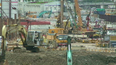 Construction Equipment On Large Building Site Stock Footage
