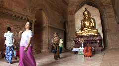 Buddhists pray at Pagoda temple Stock Footage