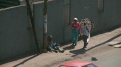 Homeless beggar on street (HD) c Stock Footage