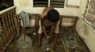 Stock Video Footage of Gold foil making in Mandalay, Burma Myanmar