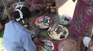 Stock Video Footage of Chopping fish at Mandalay street market