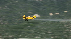 Crop duster aircraft yellow low P HD 1035 Stock Footage