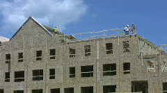 Home construction. Roof workers. Stock Footage