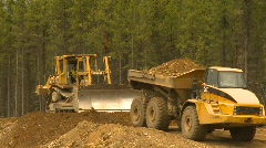 Construction, dump truck and bulldozer  Stock Footage