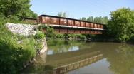 Rusty train bridge. Summer river. Stock Footage