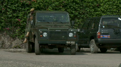 African Soldier in a Jeep Stock Footage
