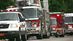 Emergency Vehicles in parade Stock Footage