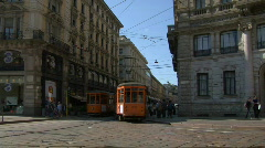 Tram in Milan 05 Stock Footage
