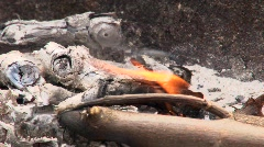 Smouldering barbeque fire Stock Footage