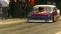 Stock Video Footage of motorsports, drag racing promod burnout, Shoebox Chevy