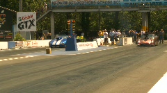 Motorsports, drag racing promod launch, gen 5 Cmaro vs 1959 Corvette Stock Footage