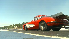 Motorsports, drag racing doorslammer launch 1960s Corvette Stock Footage