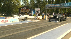 Motorsports, drag racing promod race, Corvette vs Shoebox Stock Footage