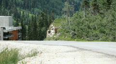 Mountain road yellow sports car P HD 0820 - stock footage