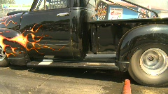 motorsports, drag racing burnout, 1956 Ford Pickup truck burnout. wow! - stock footage