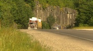 Trucking, transport trucks on mountain highway Stock Footage