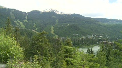 Whistler Blackcomb ski hill and lake Stock Footage