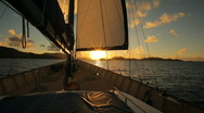 Sail in sunset Stock Footage