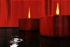 Candle flames on water animation Stock Footage