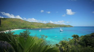 Pan over tropical bay Stock Footage
