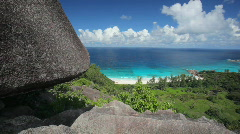 Pan shot over tropical beach from above Stock Footage