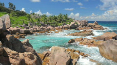 Rocky coastline of the seychelles Stock Footage
