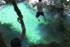 Jumping Into The Blue Stock Footage
