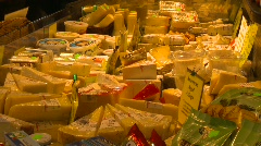 Food, cheese and deli in the market, 3 shot Stock Footage