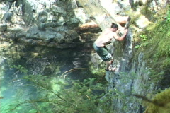 Rock Climbing Sequence at River Stock Footage