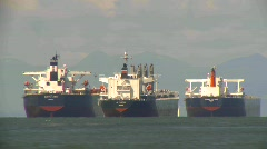 Marine transportation, cargo ships in bay, time lapse Stock Footage