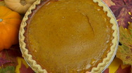 Plump pumpkin pie  Stock Footage