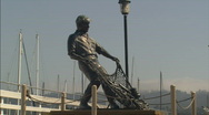 Stock Video Footage of OldFishermansWharfStatue