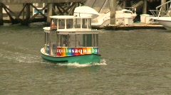 Granville island mini ferry zoom back to condos Stock Footage