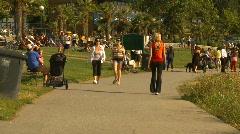 people on beach park walkway, Vancouver, #2 - stock footage