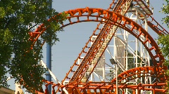 Loop rollercoaster in action Stock Footage