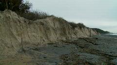 Beach Erosion - Storm Damage, Sand Dunes Washed Away, Zoomed Stock Footage