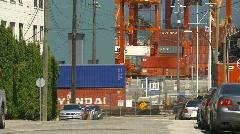 Railroad, intermodal container train and shipyard  Stock Footage