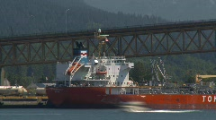 Traffic over bridge and ship, timelapse, Vancouver Stock Footage