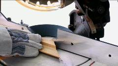 Carpenter Cuts Wood Stock Footage