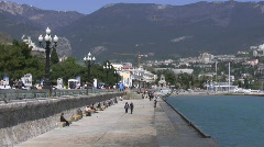 On quay of the black sea on april.  Yalta, Ukraine. - stock footage