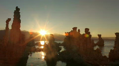 Sunset Along the Tufas of Mono Lake in the Sierra Mountains Stock Footage
