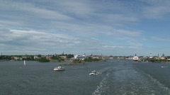 Stock Video Footage of Leaving Helsinki on a cruiseship