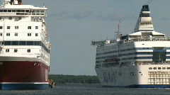 Cruise ship leaving the harbor of Helsinki Stock Footage