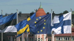 Flags, europe ,sweden, finland Stock Footage