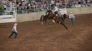 Stock Video Footage of Saddle Bronc rider winner P HD 1080