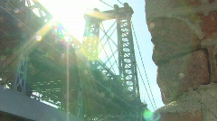 Stock Video Footage of Williamsburg Bridge With Sunshine and Bricks
