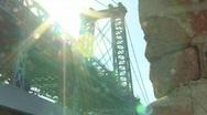 Williamsburg Bridge With Sunshine and Bricks Stock Footage