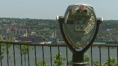 New York Hudson River View & Binoculars - stock footage