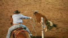 Stock Video Footage of Rodeo team roping steer P HD 1109